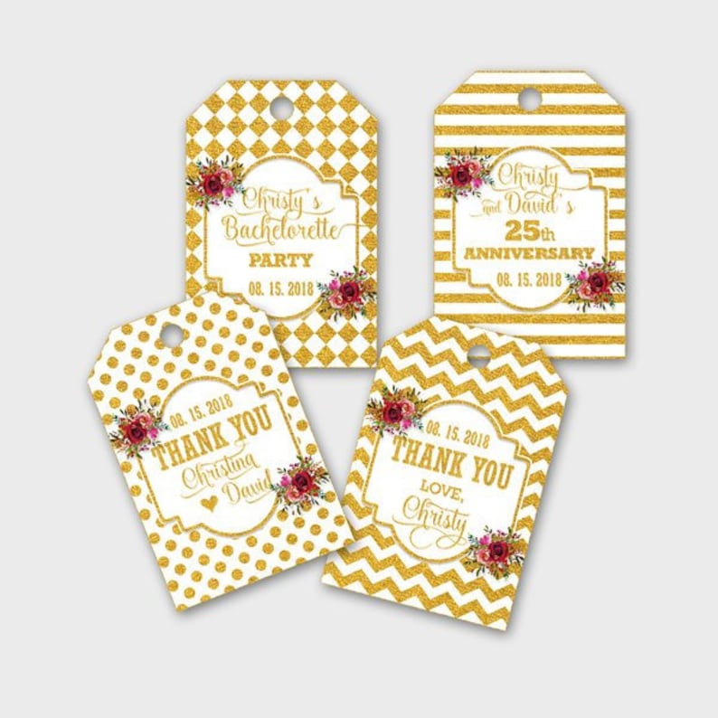 #GDS DIY Print Favor Tags Printable PDF Customized Gold Thank You Gift Tags Party Favor Tags Gold /& White