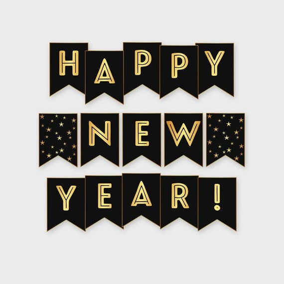 Items similar to New Year Banner, Happy New Year, Gold ...