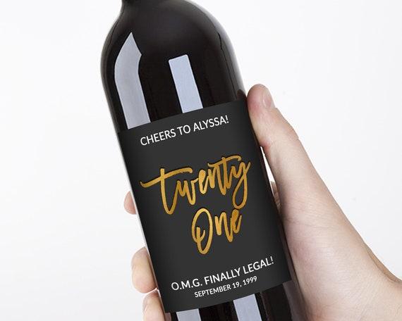 Birthday Wine Label  Personalized Birthday Label Twenty One and Legal Birthday Wine Label 21st Birthday Gift Personalized Gift 21st Birthday