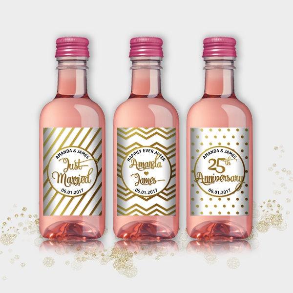 Wedding Engagement Wine Label Pdf: Wedding Party Favor Mini Wine Bottle Labels Customized