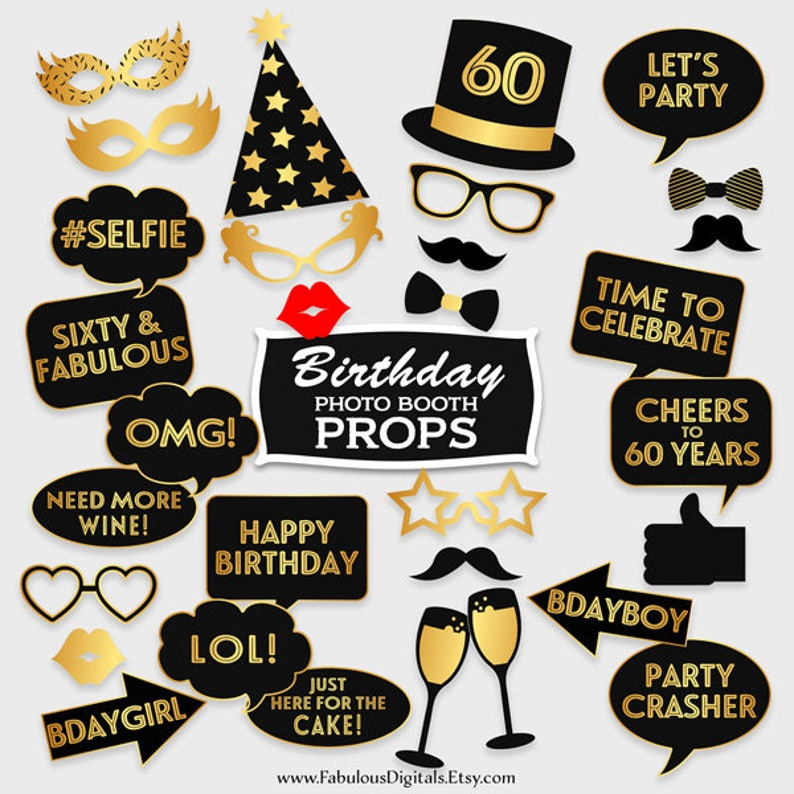 60th Birthday Photo Booth Props Printable Party