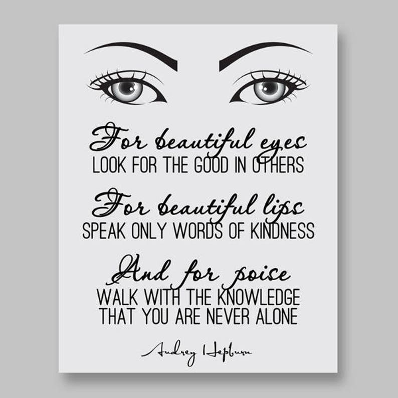 For Beautiful Eyes Audrey Hepburn Quotes Home Decor Etsy