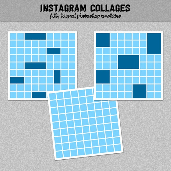 3 Instagram Collage Templates Photoshop Templates Photo Etsy