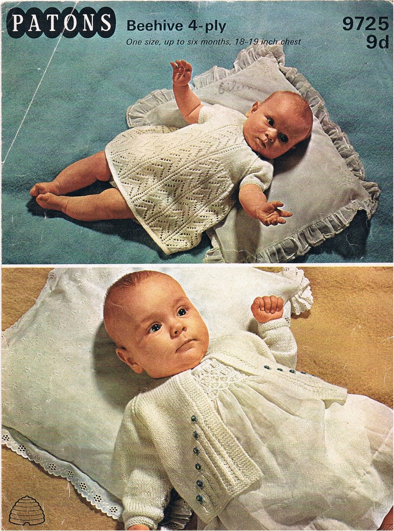 Vintage Knitting Pattern 1960s Patons Baby Dress And Cardigan Etsy