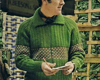Vintage Knitting Pattern PDF: 1970s Zip Fair Isle Mens Sweater Digital Copy