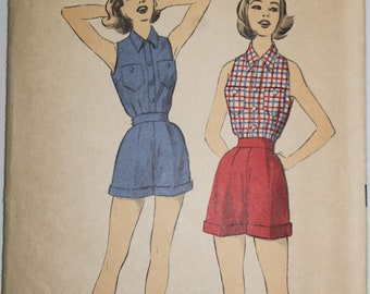 Advance Printed Sewing Pattern ~ Advance 6404 ~ Size 14 ~ 1950s Teen-Age Blouse and Shorts