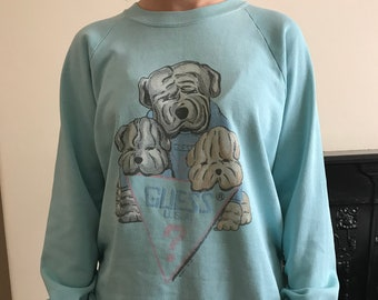Guess 80s vintage cute dog sweater