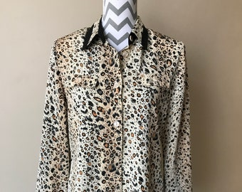 90s animal print silky shirt blouse