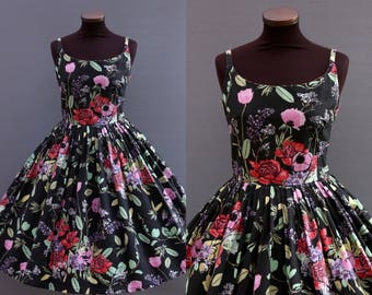 1950s Style Black Pink Red Green Floral Print Full Pleated Skirt Cotton Dress