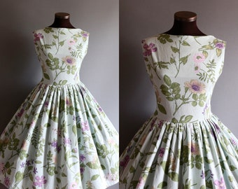 1950s Style Mint Purple Green Floral Print Full Pleated Skirt Cotton Dress