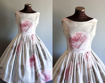 1950s Style Blue White Gray Pink Floral Rose Print Full Pleated Skirt Cotton Dress