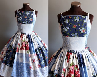 1950s Style Blue White Red Patchwork Floral Rose Print Full Pleated Skirt Cotton Dress
