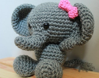 Crochet baby elephant stuffed animal amigurumi toy or photo prop