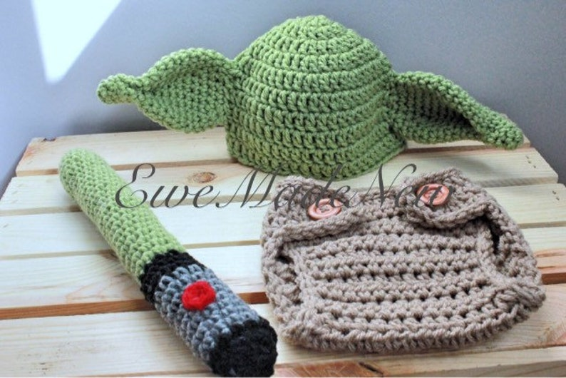 bcd89680569 Crochet baby Yoda Star Wars inspired baby photo prop hat