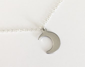 Silver Moon Necklace/Gunmetal Silver Moon Necklace/Moon Necklace