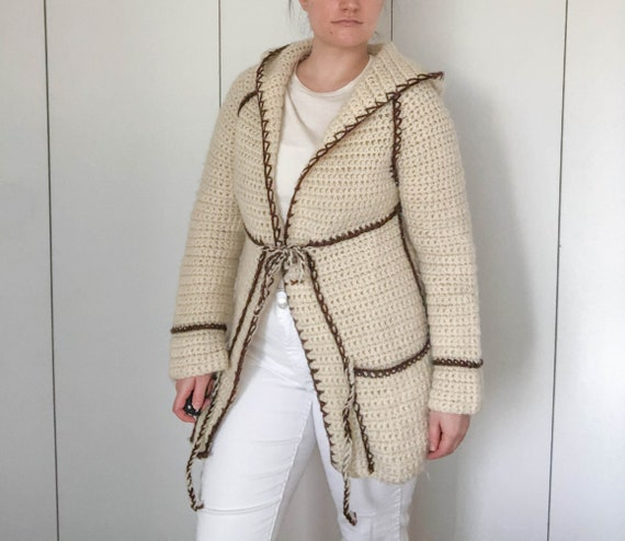 Vintage Knit Cardigan Coat with Ties Hand knit