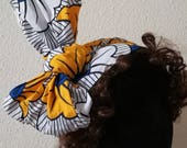 Yellow, White and Blue Fans African Print Scarf Head Wrap 2 designs