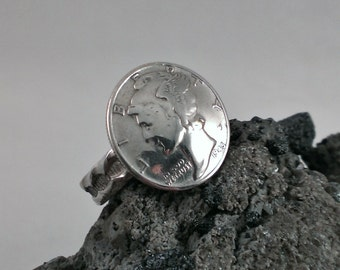 Silver Mercury Dime Ring