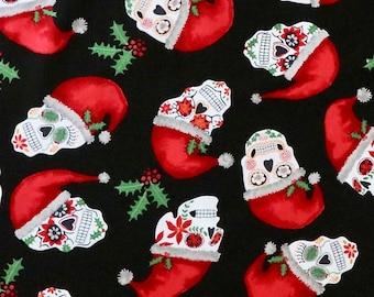 Timeless Treasures - Christmas Sugar Skulls - Pattern #  FUN-C8455  BLACK - 100% Cotton Woven Fabric - Choose Cut