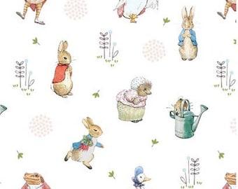 Peter Rabbit Characters Digital - Beatrix Potter Characters - White - Jemima Puddleduck, 100% Cotton Woven Peter Rabbit Fabric