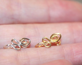 Snake Nose Cuff, faux nose ring, clip on piercing, Pierceless nose ring, silver or gold nose cuff