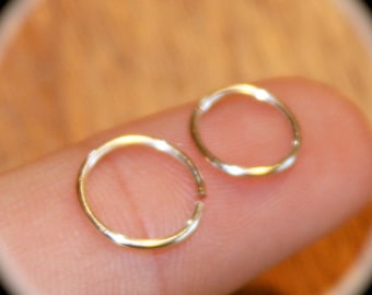 Set of (2) Small Cartilage Earrings, 20 22 24 Gauge, Nose Ring, Nose Hoop,  Ear Cuff, Helix Hoop, Nose Rings, Piercing Jewelry