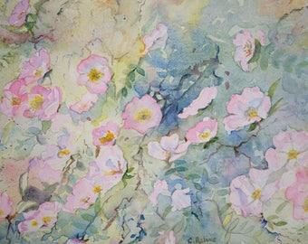 floral watercolor: wild rose Bush