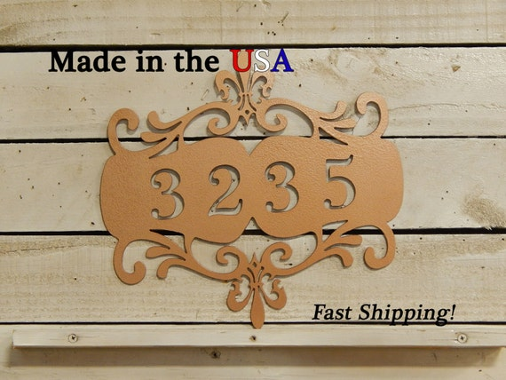 Vintage Look House Number Plaque with Scroll Work and Monogram Initial  HN1052