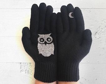 Wildlife Gift, Owl Gift, Owl Gloves, Animal Gloves, Owl Lovers, Black Gloves, Pet Gift, Animal Gift, Sales Event, Wildlife Kingdom, Animals