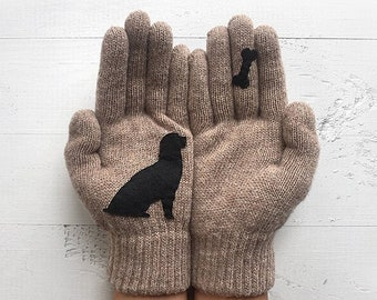 Dog Gloves Women Mittens Winter Gloves Christmas Clearance Valentine's Day Gift Pet Parent Gift Women Gloves Dog Lady Gift For Her