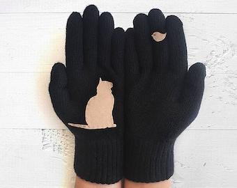 Pet Gloves, Cat Gloves, Black Gloves, Cat Gift, Sales, Mother's Day Gift, Pet Lover Gift, Women Gloves, Mom Gift, Pet Gift, Kitty Gloves
