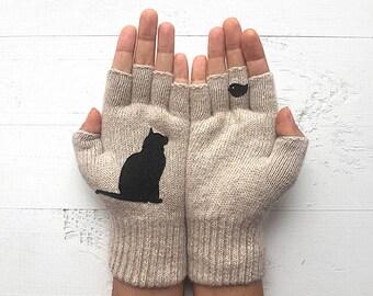 Cat Gloves, Cat Lover Gift, Mother's Day Gift, Inspirational Women Gift, Gift For Her, Gift For Mom, Women Mitten, Gift For Mother, Cat Gift