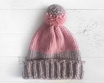 Women  Gift, Knitted Beanies, Pom Pom Beanies,  Gift, Girlfriend Gift, Pink Knitted Hat, Pom Pom Hat, Gift For Friend
