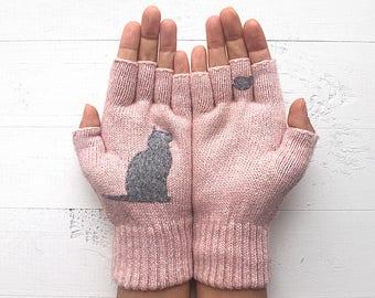 Inspirational Women Gift, Cat Mitten, Cat Lover Gift, Mother's Day Gift, Pink Gloves, Gift For Mother, Gift For Her, Inspirational Gift
