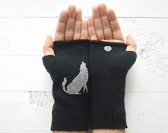 Women Hand Warmer, Wolf Gloves, Moon Gift, Funny Mother Gift, Black Gloves, Wolf Gift, Fingerless Gloves, Women's Mitten, Fast Shipping Gift