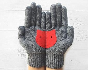 Women's Gift, Cat Gloves, Mother's Day Gift, Cat Lover Gloves, Gray Gloves, Gift For Her, Gift For Mother, Gift For Lover, Women's Gloves