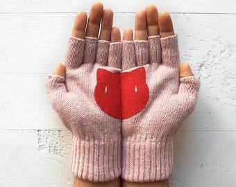 Fingerless Gloves, Women Mitten, Cat Lover Gloves, Mother's Day Gift, Cat Gift, Pink Gloves, Gift For Her, Girlfriend Gift, Pet Lover Gift