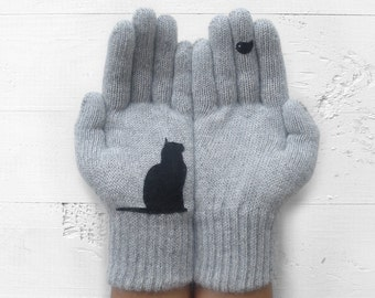 Pet Gift, Cat Gloves, Pet Lover Gift, Women Gloves, Winter Gloves, Cat Gift, Gift For Her, Cat Lover Gift, Mother's Day Gift, Gift For Mom