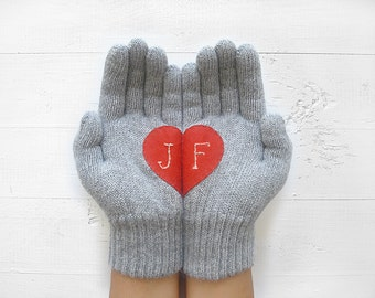 Winter Gloves Personalize Gift For Her Christmas Outdoor Monogram Women Wool Cold Weather Valentine's Day Care Package Accessories Initials
