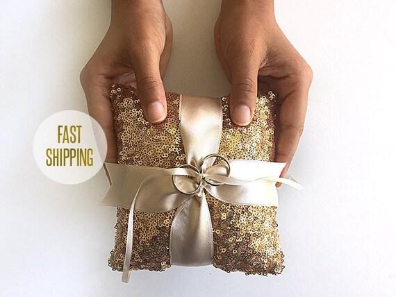 Sequin Pillow Gold Pillow Gold Ring Bearer Pillow Boho Ring Gold Wedding Boho Wedding Pillow Alternative Sequin Holder Gold Sequin