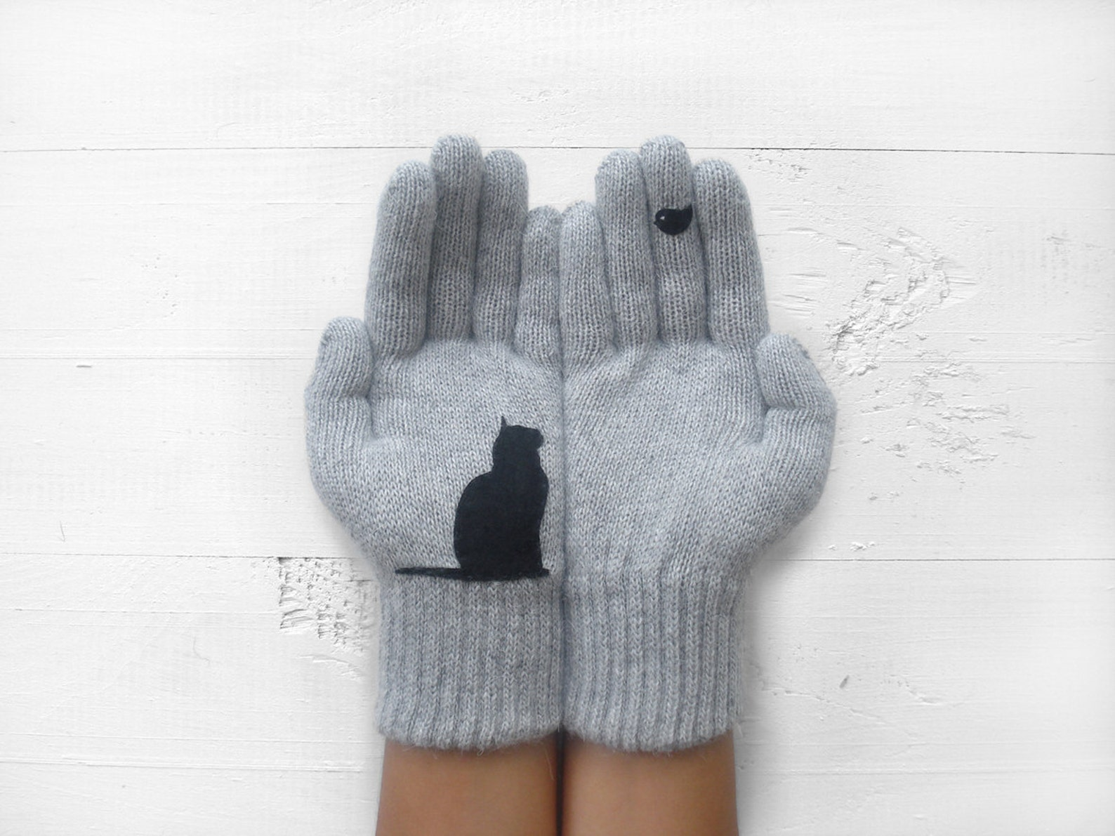 Gray Wool Cat Gloves