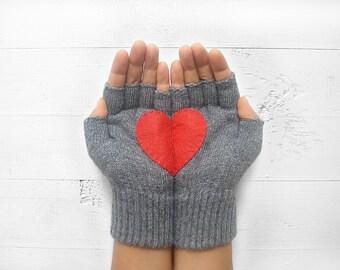 Couple Gloves, Fingerless Gloves, Mother's Day Gift, Heart Gloves, Gift For Her, Gift For Girlfriend, Birthday Gift, Love Gloves, Mittens