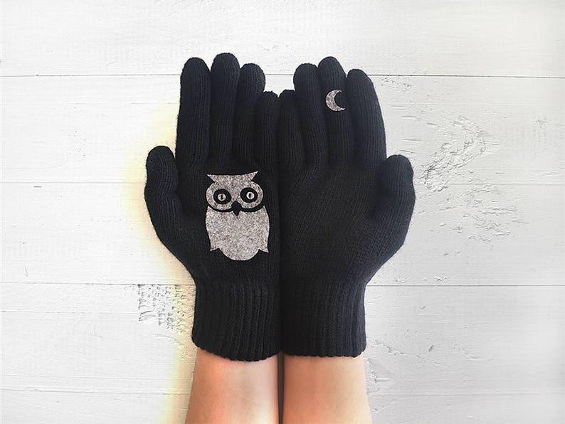 Black Leather Fingerless Gloves Owl