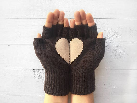 Women Gloves Grey Love Heart Christmas Gift For Her Winter Valentines Fingerless Mittens Holiday