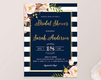 72544fab2cee Navy Gold Blush Bridal shower invitation bridal brunch