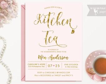 bridal tea party invitation gold glitter mint bridal etsy