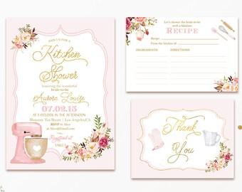 bridal kitchen shower invitation bridal shower invite bridal brunch cooking theme printable blush gold foil digital file diy