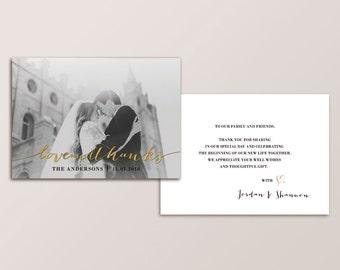 Wedding Thank You Card - gold foil (Printable)