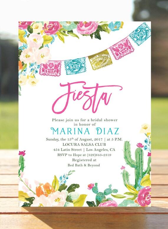 Fiesta Bridal Shower Invitation Mexican Brunch