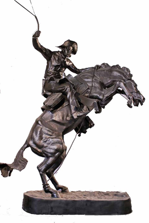 """THE BRONCO BUSTER By Frederic Remington 10/"""" Bronze Sculpture Statue Signed Work"""
